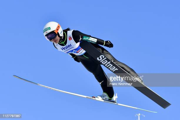 Sara Takanashi of Japan during the Ski Jumping Competition Ladies HS109at the FIS Nordic World Ski Championships at Toni Seelos Schanze Seefeld on...