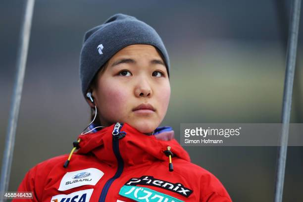 Sara Takanashi of Japan goes up prior to the first jump at the Ladies Ski Jumping HS 108 during the FIS Women's Ski Jumping on December 22 2013 in...