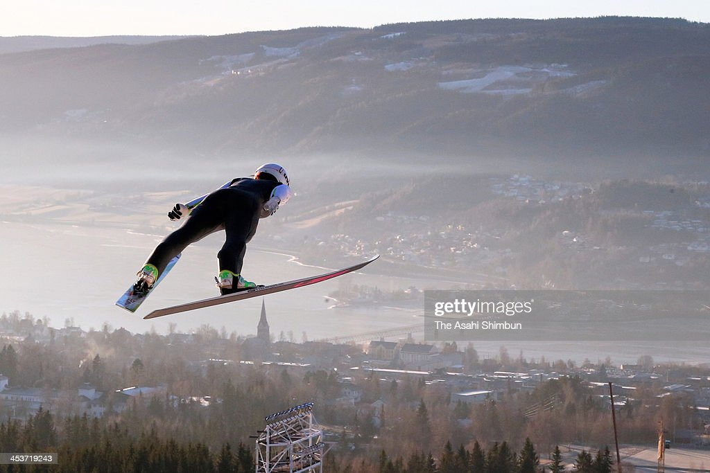Sara Takanashi of Japan in action during the training session of the FIS Ski Jumping World Cup at Lysgaardsbakkene Ski Jumping Hill on December 4, 2013 in Lillehammer, Norway.