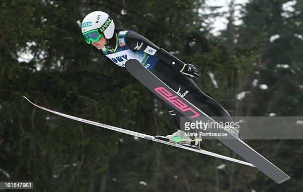Sara Takanashi of Japan jumps during the FIS Women's Ski Jumping on February 17 2013 in Ljubno ob Savinji Slovenia