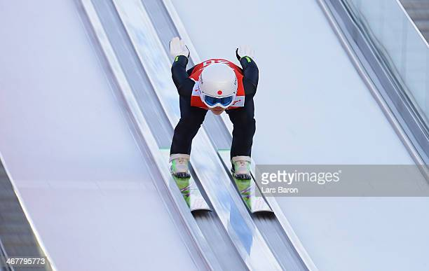 Sara Takanashi of Japan jumps during the Ladies' Normal Hill Individual Ski Jumping training on day 1 of the Sochi 2014 Winter Olympics at the RusSki...