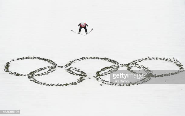 Sara Takanashi of Japan jumps during the Ladies' Normal Hill Individual Ski Jumping training on day 2 of the Sochi 2014 Winter Olympics at the RusSki...