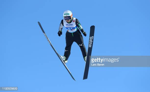 Sara Takanashi of Japan jumps during the qualification round of the HS109 women's ski jumping Competition of the FIS Nordic World Ski Championships...