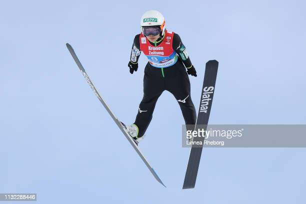 Sara Takanashi of Japan jumps during the trial round of the HS109 women's ski jumping Competition of the FIS Nordic World Ski Championships at Toni...