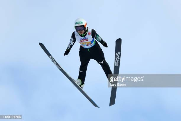 Sara Takanashi of Japan jumps in the Mixed Team Ski Jumping HS109 competition during the FIS Nordic World Ski Championships on March 2 2019 in...