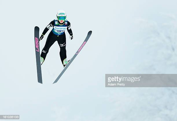 Sara Takanashi of Japan jumps in the practice round before competition during day one of the FIS Women's Ski Jumping World Cup at Zao Jump Stadium on...
