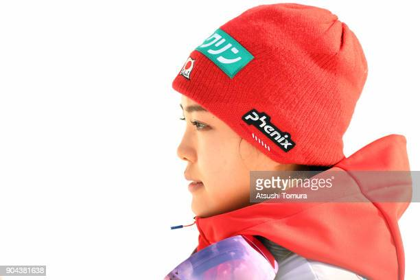 Sara Takanashi of Japan looks on during day one of the FIS Ski Jumping Women's World cup at Miyanomori Ski Jump Stadium on January 13, 2018 in...