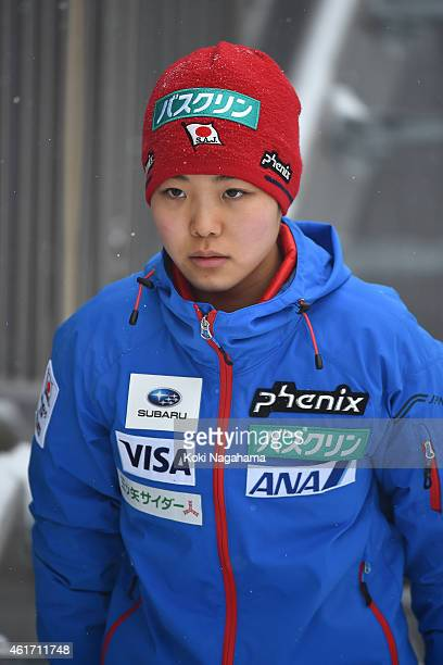 Sara takanashi of Japan looks on during the FIS Women's Ski Jumping World Cup Zao at Zao Jump Stadium on January 18 2015 in Yamagata Japan