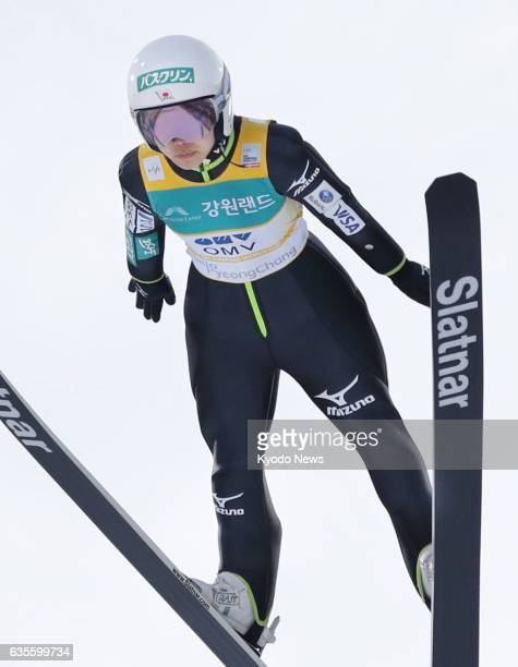 Sara Takanashi of Japan makes her second jump at a World Cup ski jumping event in Pyeongchang South Korea on Feb 16 2017 Takanashi picked up her 53rd...