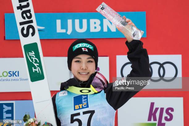 LJUBNO SLOVENIA LJUBNO SAVINJSKA SLOVENIA Sara Takanashi of Japan on podium celebrates her victory at last competition day of the FIS Ski Jumping...