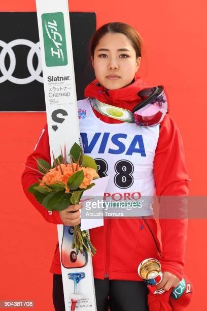 Sara Takanashi of Japan poses on the podium during day one of the FIS Ski Jumping Women's World cup at Miyanomori Ski Jump Stadium on January 13,...