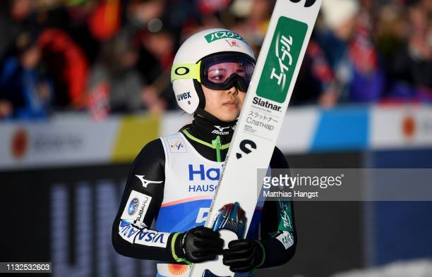 Sara Takanashi of Japan reacst after the first round of the HS109 women's ski jumping Competition of the FIS Nordic World Ski Championships at Toni...
