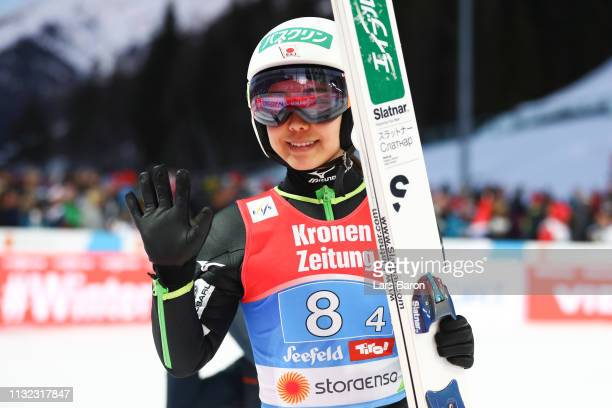 Sara Takanashi of Japan reacts after her jump during the second round of the HS109 women's ski jumping Competition of the FIS Nordic World Ski...