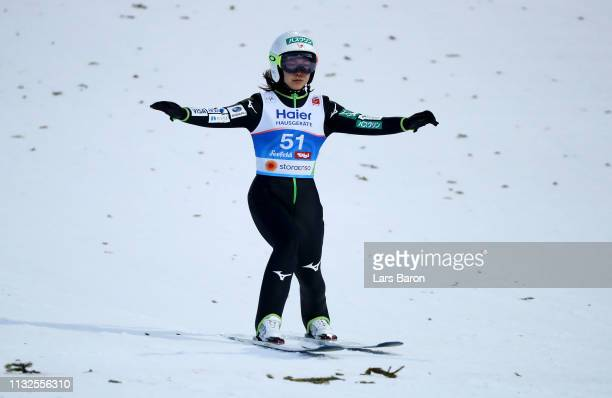 Sara Takanashi of Japan reacts after the final round of the HS109 women's ski jumping Competition of the FIS Nordic World Ski Championships at Toni...