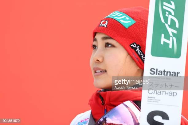 Sara Takanashi of Japan smiles during day one of the FIS Ski Jumping Women's World cup at Miyanomori Ski Jump Stadium on January 13, 2018 in Sapporo,...