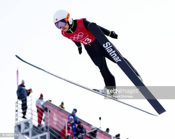 Sara Takanashi of Japan soars during the Ladies' Normal Hill Individual training at Alpensia Ski Jumping Centre on February 8 2018 in Pyeongchanggun...