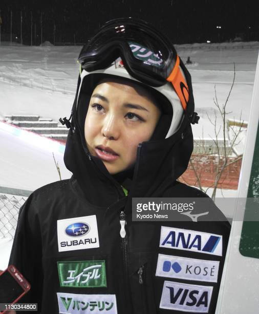 Sara Takanashi of Japan speaks to reporters after the qualification round at a women's World Cup ski jumping event in Trondheim Norway on March 13...