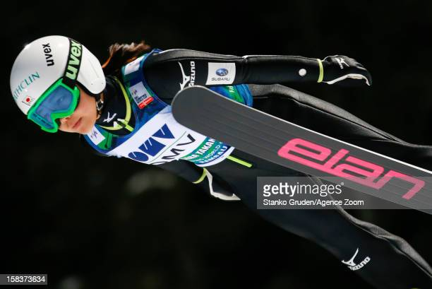Sara Takanashi of Japan takes 1st place during the FIS Ski Jumping World Cup Women's HS98 December 14 2012 in Ramsau Austria