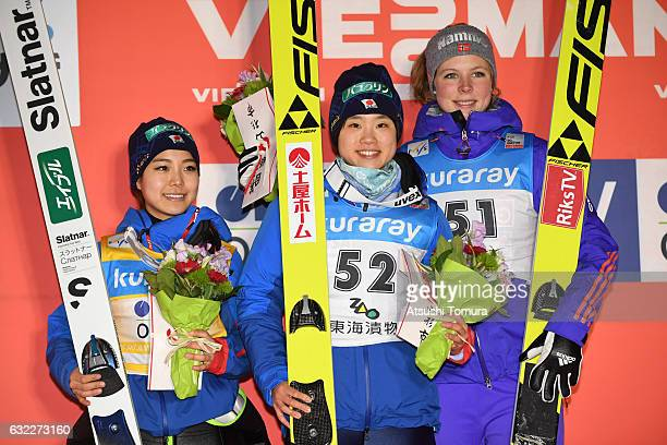 Sara Takanashi of Japan Yuki Ito of Japan and Maren Lundby of Norway pose on the podium during the FIS Ski Jumping World Cup Ladies 2017 In Zao at...
