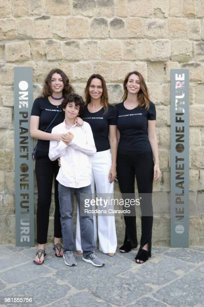 Sara Tazares Alessandro Tazares Anne de Carbuccia and Julia Tazares attend One Planet One Future Cocktail Party on June 22 2018 in Naples Italy