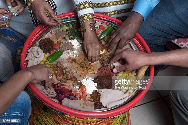 Sara Teshome makes injera from scratch at Hiwot on November 2016 in Washington DC