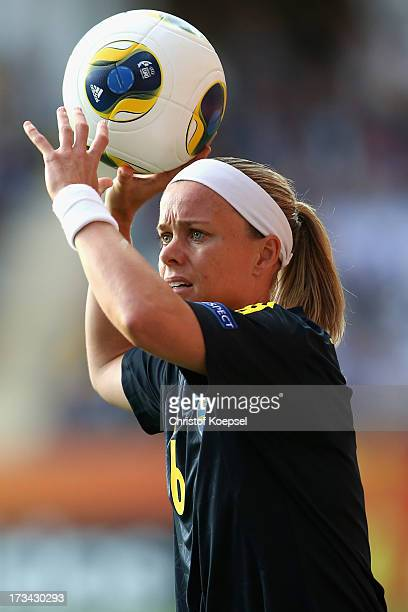 Sara Thunebro of Sweden throws the ball during the UEFA Women's EURO 2013 Group A match between Finland and Sweden at Gamla Ullevi Stadium on July 13...