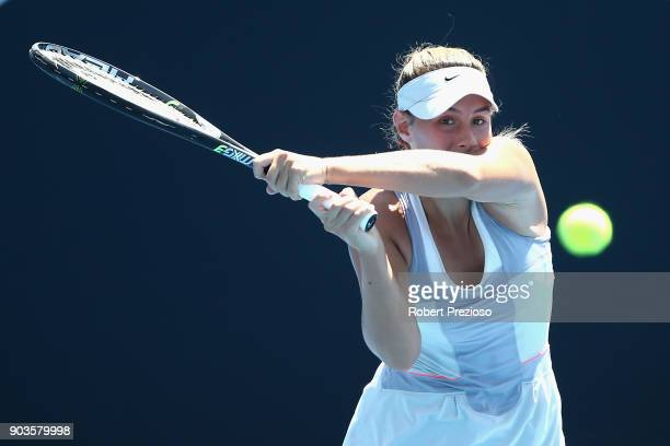 Sara Tomic of Australia competes in her first round match against Sofya Zhuk of Russia during 2018 Australian Open Qualifying at Melbourne Park on...