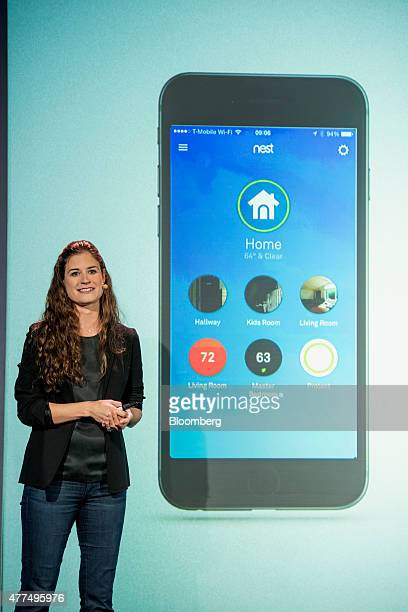 Sara Torti senior product manager of apps at Nest Labs Inc speaks during a Nest Labs event in San Francisco California US on Wednesday June 17 2015...