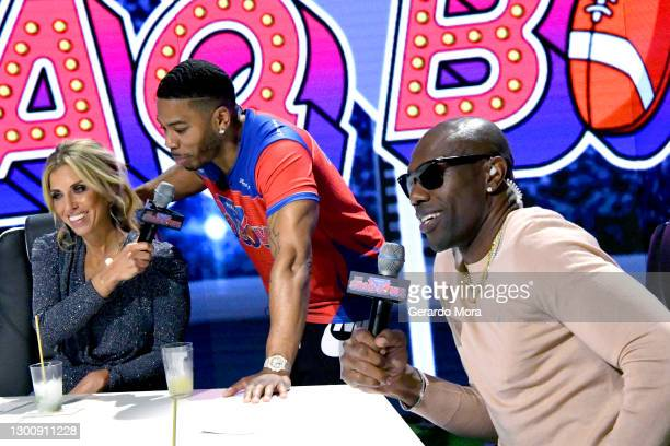 Sara Walsh, Nelly, and Terrell Owens speak during The SHAQ Bowl for Super Bowl LV on February 07, 2021 in Tampa, Florida.