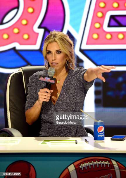 Sara Walsh speaks during The SHAQ Bowl for Super Bowl LV on February 07, 2021 in Tampa, Florida.
