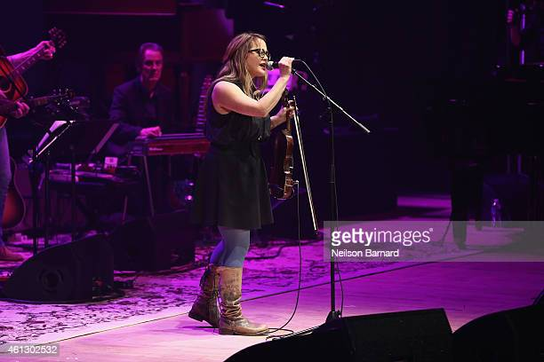 Sara Watkins performs on stage during The Life Songs of Emmylou Harris An All Star Concert Celebration at DAR Constitution Hall on January 10 2015 in...