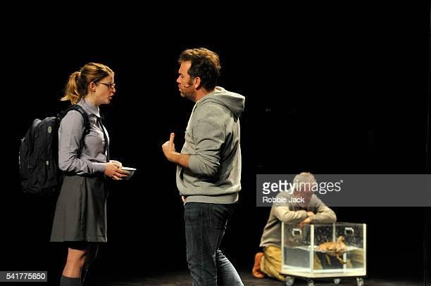 Sara West as Hedvig EkdalBrendan Cowell as Hjalmar Ekdal and Richard Piper as Ekdal with Bob The Duck in Belvoir Sydney's production of Henrik...