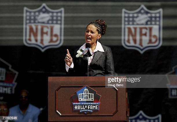 Sara White wife of the late defensive end Reggie White speaks during the Class of 2006 Pro Football Hall of Fame Enshrinement Ceremony at Fawcett...