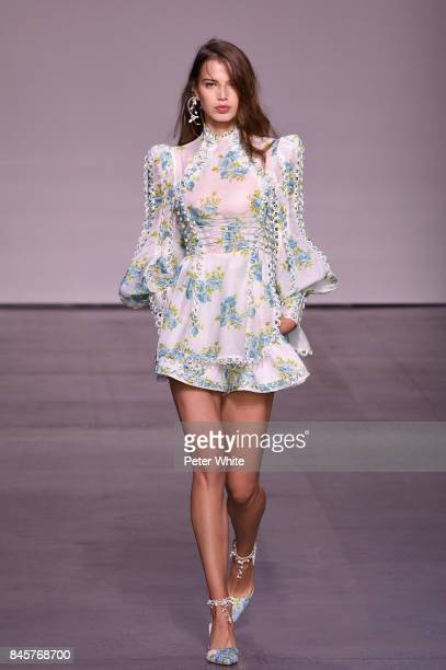 Sara Witt walks the runway for Zimmermann fashion show during New York Fashion Week The Shows at Spring Studios on September 11 2017 in New York City