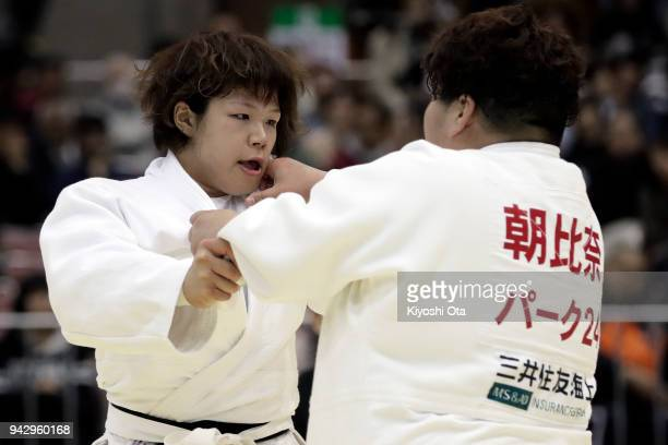 Sara Yamamoto competes against Sarah Asahina in the Women's 78kg semifinal match on day one of the All Japan Judo Championships by Weight Category at...