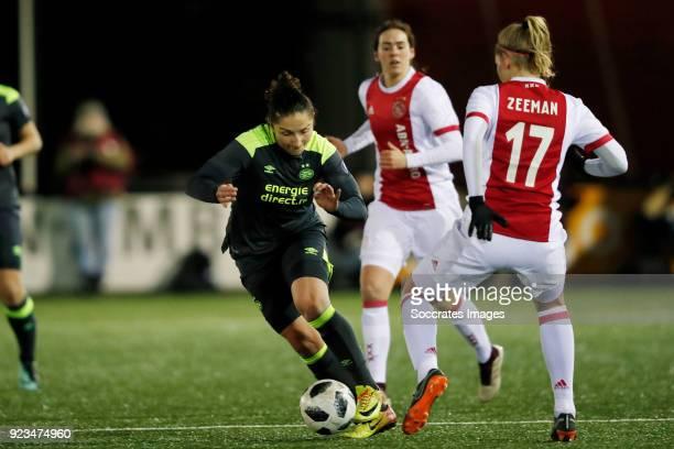 Sara Yuceil of PSV Women Kelly Zeeman of Ajax Women during the Dutch Eredivisie Women match between Ajax v PSV at the De Toekomst on February 23 2018...