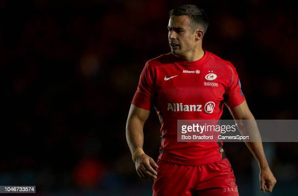 Saracens' Alex Lozowski during the Gallagher Premiership Rugby match between Harlequins and Saracens at Twickenham Stoop on October 6 2018 in London...
