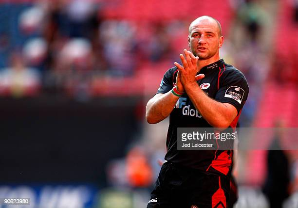Saracens and England captain Steve Borthwick applauds the fans at the end of the match after the Guinness Premiership match between Saracens and...