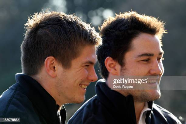 Saracens and New England centre pairing Owen Farrell and Brad Barritt speak to the media during the England press conference at Pennyhill Park on...