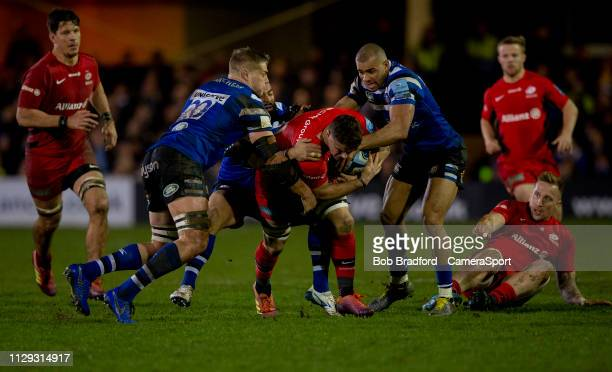 Saracens' Ben Earl in action during the Gallagher Premiership Rugby match between Bath Rugby and Saracens at Recreation Ground on March 8 2019 in...