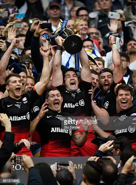 Saracens captain Brad Barritt lifts the trophy after the European Rugby Champions Cup Final between Racing 92 and Saracens at Grand Stade de Lyon on...