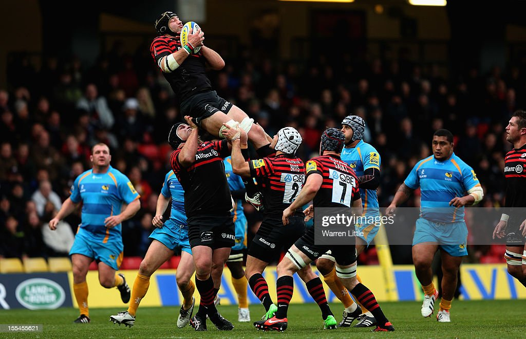 Saracens Captain, Steve Borthwick catches the ball during the Aviva Premiership match between Saracens and London Wasps at Vicarage Road on November 4, 2012 in Watford, England.
