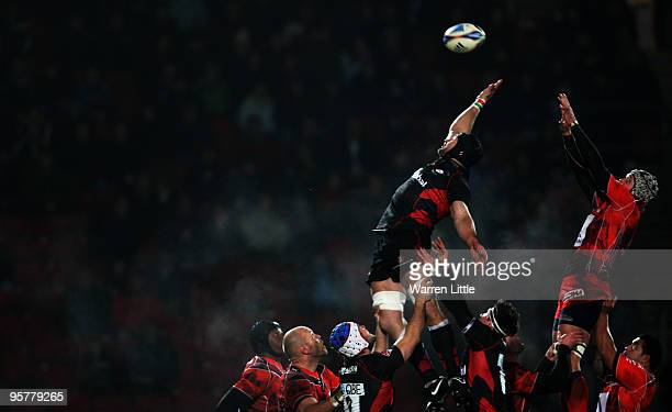 Saracens Captain Steve Borthwick jumps in the lineout during the Amlin Challenge Cup Round Five match between Saracens and Toulon at Vicarage Road on...