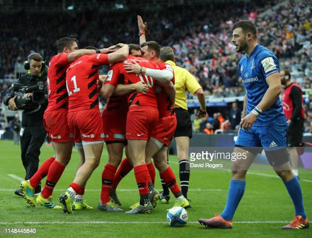 Saracens celebrate after Sean Maitland scores his sides first try during the Champions Cup Final match between Saracens and Leinster at St. James...