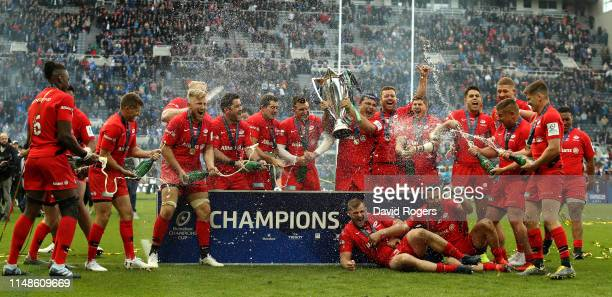 Saracens celebrate after their victory during the Champions Cup Final match between Saracens and Leinster at St. James Park on May 11, 2019 in...