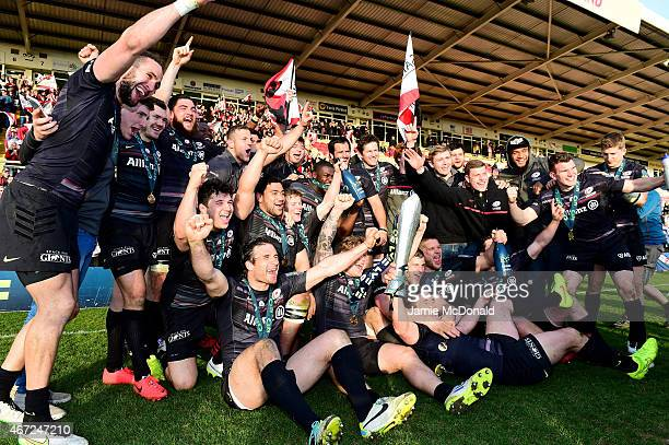 Saracens celebrate following their 2320 victory during the LV= Cup Final match between Saracens and Exeter Chiefs at Franklin's Gardens on March 22...