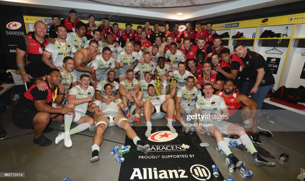 Saracens celebrate their victory during the Aviva Premiership Final between Exeter Chiefs and Saracens at Twickenham Stadium on May 26, 2018 in London, England.