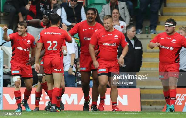Saracens celebrate their victory during the Gallagher Premiership Rugby match between Northampton Saints and Saracens at Franklin's Gardens on...
