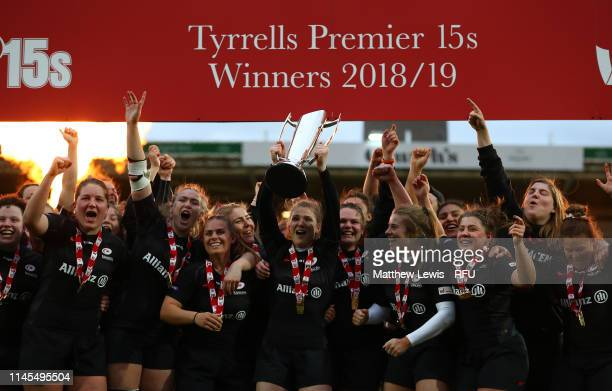 Saracens celebrate their win over Harlequins during the Tyrells Premier 15s Final between Saracens and Harlequins at Franklin's Gardens on April 27...
