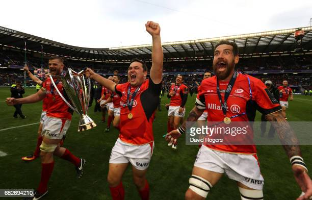 Saracens celebrate with the trophy following their 2817 victory during the European Rugby Champions Cup Final between ASM Clermont Auvergne and...